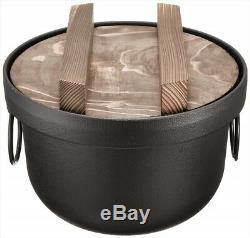 20068 Japanese Rice pot Black Ikenaga Ironworks 3 cups 2L Wooden lid Cast iron