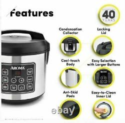 Aroma Housewares 20 Cup Cooked 10 cup uncooked Digital Rice Cooker, Slow Cooker