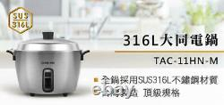 DHL New TATUNG TAC-11HN-M 316 Stainless 10 CUPS Indirect Rice Cooker AC 110V
