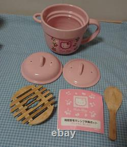 Sanrio Hello Kitty Pottery Rice cooker 1.5 cups Microwave with Wooden Server Used
