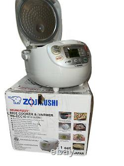 TESTED Zojirushi Neuro Fuzzy NS-ZCC10 Rice Cooker & Warmer- White up to 5.5 cups