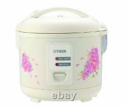Tiger 5.5 Cup Uncooked Rice Cooker And Warmer With Steam Basket Floral White