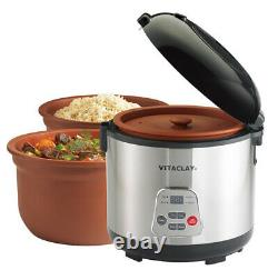 VitaClayR 2-in-1 Rice Slow Cooker & Clay Insert Round, 6-cup / 3.2-Quart