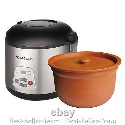 VitaClay 2-in-1 Rice N Slow Cooker in Clay Pot Rice Electric 8 Cup, VF7700-8