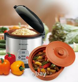 VitaClay 2-in-1 Rice Slow Cooker & Clay Insert Round 8 cup / 4.2-Quart