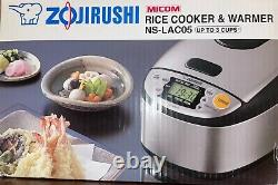 Zojirushi NS-LAC05 3 Cup Stainless Steel/Black Micom Rice Cooker & Warmer NEW