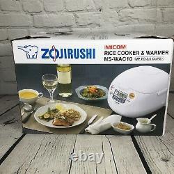 Zojirushi NS-WAC10 Micom Rice Cooker and Warmer 5.5 Cup Cool White (18B-02)
